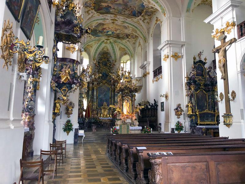 Inneres der Basilika Maria Brünnlein